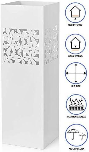 MONTEMAGGI Portaombrelli Bianco Intaglio Rettangolare Foglie Decoro Traforato 15X15X50 cm