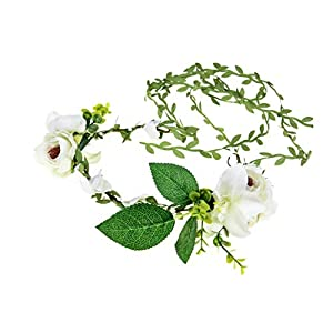 DDazzling Lily Flower Crown Tieback Halo Flower Crown Headband Photo Props (White) 74