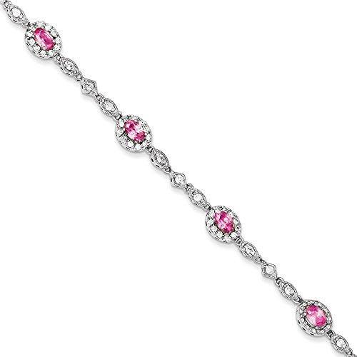 En argent Sterling 925 avec zircones cubiques roses et transparentes Bracelet 7 mm-Fermoir-JewelryWeb