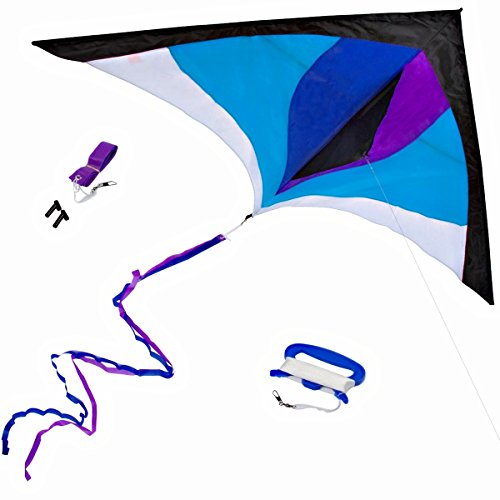 Best Delta Kite, Easy Fly for Kids and Beginners, Single Line w/Tail Ribbons, Stunning Blue & Purple, Materials, Large, Meticulous Design and Testing + Guarantee + Bonuses! (Best Kites For Adults)