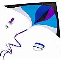 Best Delta Kite, Easy Fly for Kids and Beginners, Single Line w/Tail Ribbons, Stunning Colors, Large, Meticulously Designed and Tested + Guarantee + Bonuses