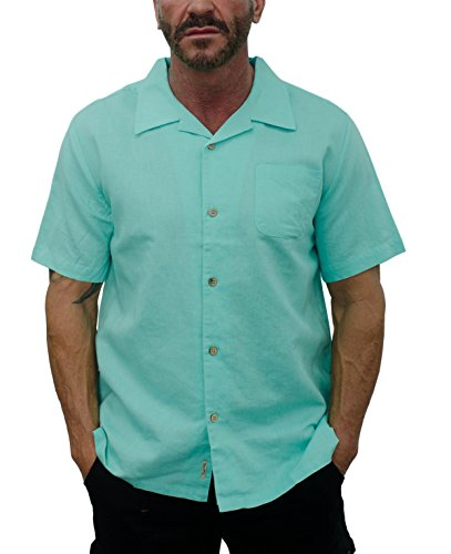 Short Fin Men's Short Sleeve Camp Linen Shirt (Large, Ice Green L8041) ()
