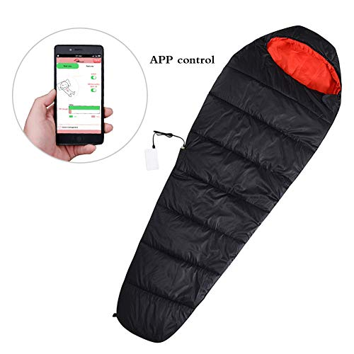 FIRSERMO Electric Heated Sleeping Bag Mummy Outdoor Lightweight Portable Waterproof Temperature Range 15-50F 5V 2A Heated to 107F Smart APP Control for Adults Camping Hiking ()