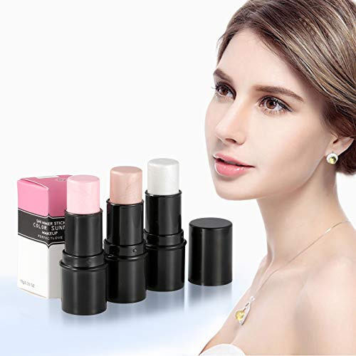 CCbeauty Illuminator Face Highlighter Makeup Sticks Whitening Cream Shimmer Stick Powder Foundation Stick (3pcs Highlighter)