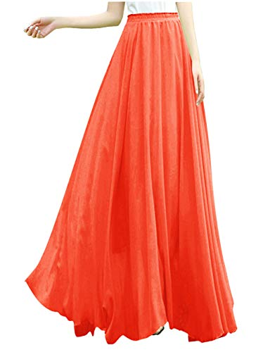 (v28 Women Full/Ankle Length Elastic Retro Maxi Chiffon Long Skirt (M,Orange))