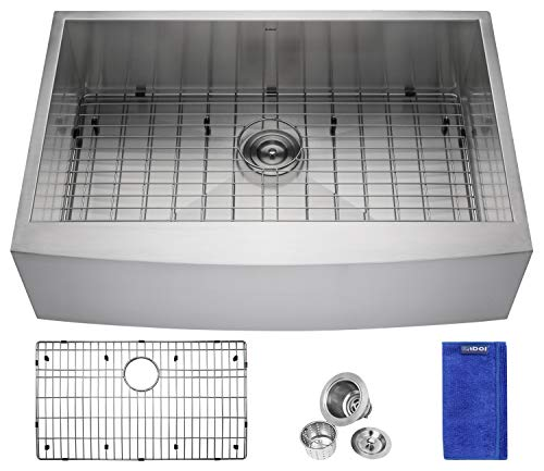 - Enbol EAS3322, 33 Inch Handmade Farmhouse Apron Undermount Single Bowl Premium Stainless Steel Kitchen Sink with Protective Bottom Grid and Strainer, 10 Inch Deep, R=0 Modern Look