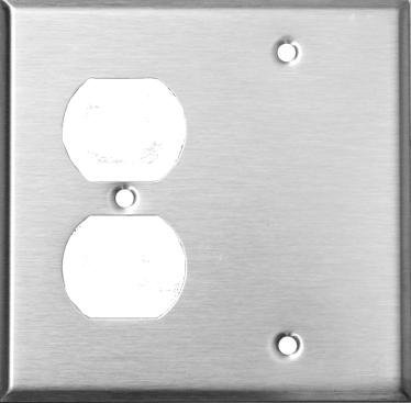 Morris 83540 430 Wall Plate, 2 Gang with 1 Blank, 1 Duplex, Stainless Steel