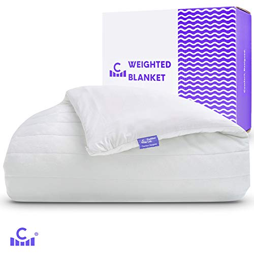 Cushion Lab Calming Weighted Blanket 15lbs & Dual Sided Cotton/Quilted Duvet Cover | 60