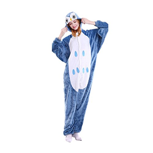 Ciel Infini Unisex Kigurumi Oneise Long Sleeve Non Footed Adult Animal Pajama,Owl,M/156-164CM