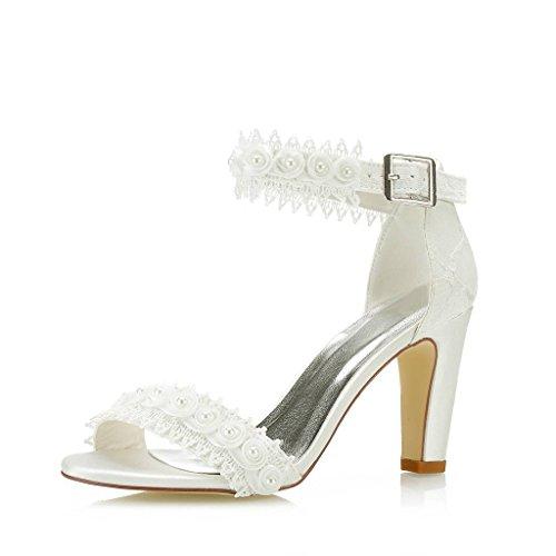 (Mrs Right 5471A Women's Bridal Shoes Open Toe Block Heel Lace Satin Pumps Satin Flower Sandals Wedding Shoes Colour Ivory,Size 6.5 B(M) US/37 EU)