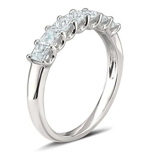 La4ve Diamonds Platinum 7-Stone Princess-Cut Diamond Bridal Wedding Band Ring (1 cttw, H-I, SI1-SI2), Size 7