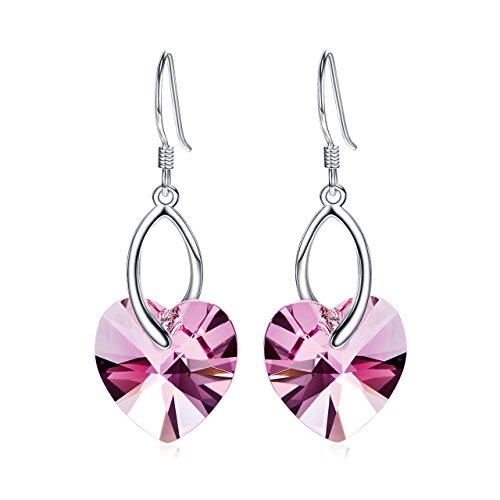 Cuoka Silver Necklace Sterling Sliver 925 Love Heart Hook Dangle Earrings Admoed with Austria Crystals Women Jewelry (Arrowhead Earrings Crystal)