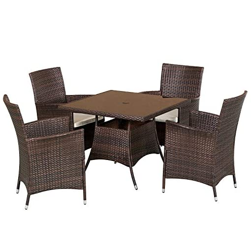 Oakmont 5 Piece Patio Furniture Outdoor Wicker Dining Chairs Set Washable Cushions Square Tempered Glass Top Table With Umbrella Hole Brown Beachfront Decor