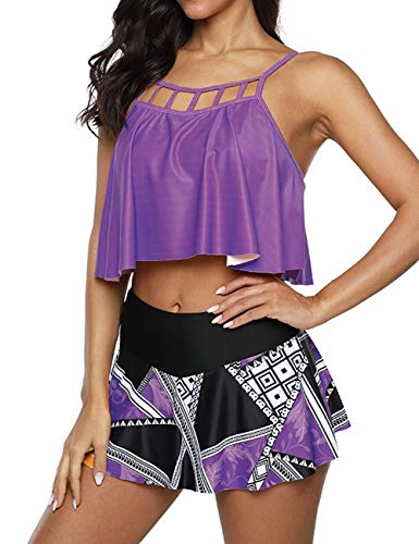Anguang Tankini Swimsuits for Women 2 Piece Floral Ruffled Bathing Suit Tummy Control High Waisted Skirt Briefs Bikini Set Purple L