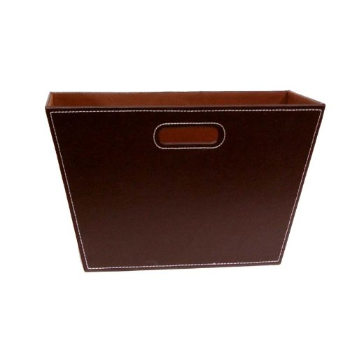 - The Lucky Clover Trading Roosevelt Faux Leather Magazine Holder Bin, Brown