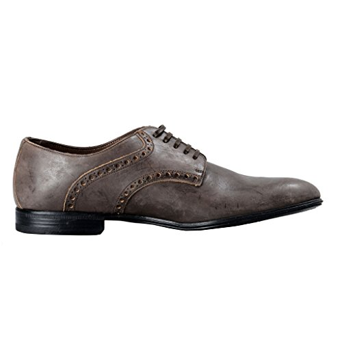 Dolce & Gabbana Marron Homme Aspect Vieilli Cuir Oxfords Chaussures Marron