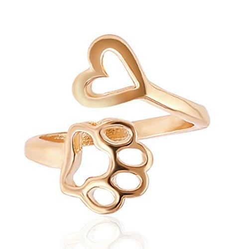 ERAWAN Fashion Women Hollow Paw Print Love Heart Ring Open Adjustable Ring Jewelry EW sakcharn (Gold) ()