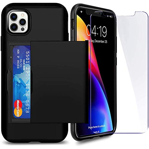 SUPBEC Compatible for iPhone 12 Pro Max Case with Card Holder and[ Screen Protector Tempered Glass x2Pcs][ Protective Series] Shockproof Silicone for iPhone 12 ProMax Wallet Case Cover