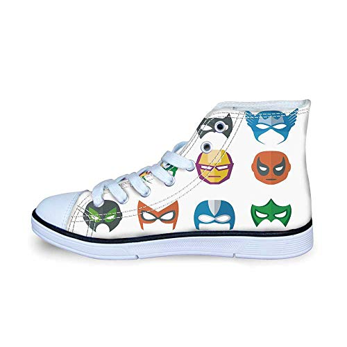 Superhero Comfortable High Top Canvas Shoes,Hero Mask Female Male Costume Power Justice People Fashion Icons Kids Display for Boys,EU31 -