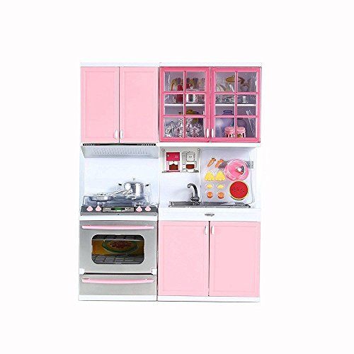 Kitchen Cooking Role Pretend Play Toy Cooker Set (Pink) - 5