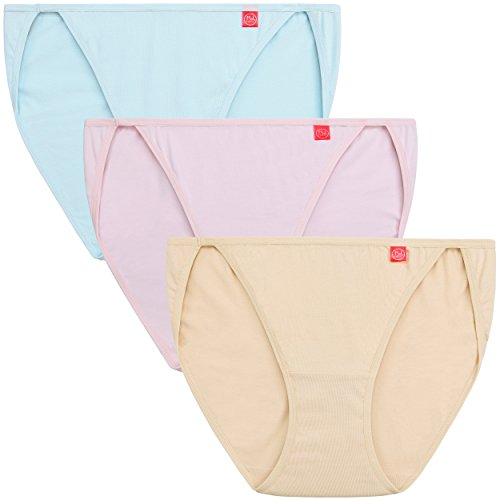 "Innersy Women's Underwear Strecth Cotton High-Leg String Bikini Panties (3 Pack) (X-Large(Waist:33.5""-35""), Nude&Light Pink&Skylight)"