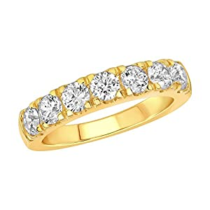 Seven Stone 1.50 Carat (cwt) Natural Diamond 14K Yellow Gold Ladies Anniversary Band Ring