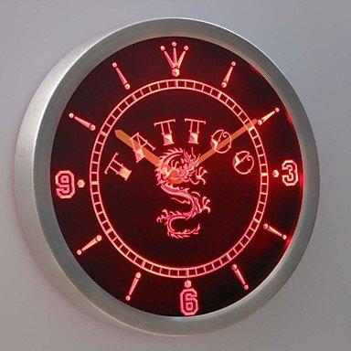 HJZ nc0357 del tatuaje de la tinta de botellines de cerveza del dragón chino muestra de neón reloj de pared de LED, de color rojo: Amazon.es: Relojes