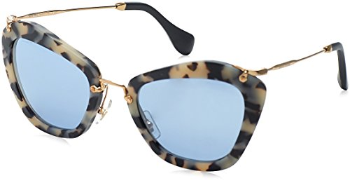 Miu Miu Women's Matte Cat Eye Sunglasses, Matte Havana/Light Blue Mirror, One - Sunglasses Cats Miu Miu Eye
