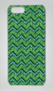 Green Chevron Pattern Transparent Sides Hard Shell Case for Iphone5 Iphone5S by Sakuraelieechyan