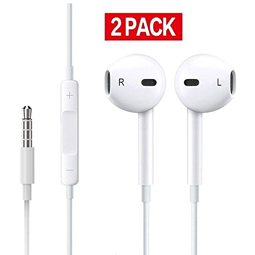 Earphones/Earbuds/Headphones,LeiMei with Stereo Mic&Remote Control for iPhone iPad iPod Samsung Galaxy and More Android Smartphones[2-PACK]