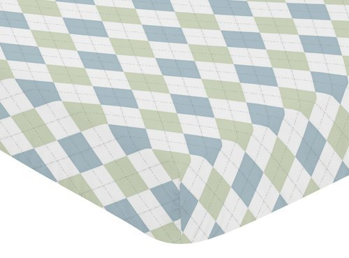 Sweet Jojo Designs Fitted Crib Sheet for Blue Green Argyle Baby/Toddler Bedding Set Collection - Argyle - Blue Argyle Green