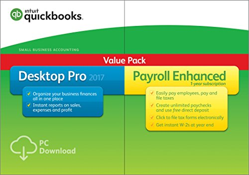 QuickBooks Desktop Pro 2017 with Enhanced Payroll Small Business Accounting Software [PC...