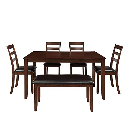Dinning Room Set for 6 with Bench,JULYFOX 6 Piece Wood Rectangular Kitchen Table with 4 PU Leather Padded Chairs and 1 Upholstered Dinning Bench for 6 People Espresso