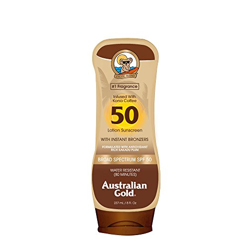 Australian Gold Sunscreen Lotion with Kona Coffee Infused Bronzer, Broad Spectrum, Water Resistant, SPF 50, 8 Ounce ()