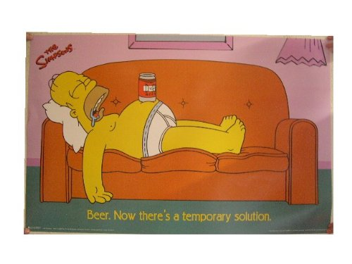 - (24x36) SIMPSONS HOMER Funny Poster Print College Beer Solution