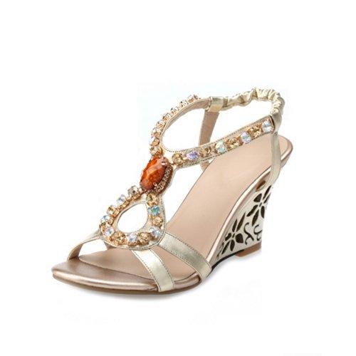 Sandalias de Reino alto con 5 diamante abiertos Unido oro tacón para suave cristal VogueZone009 niñas Tacones con de material wfq0Txx8