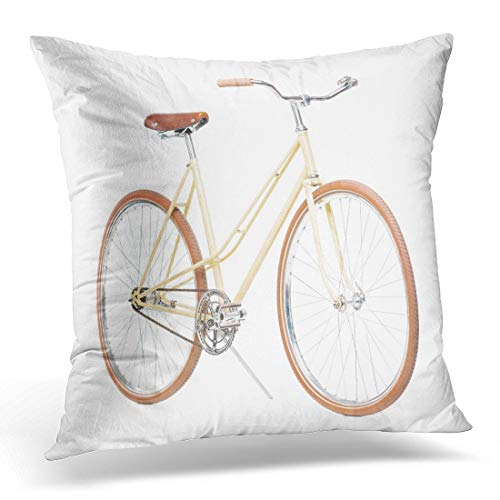 Emvency Throw Pillow Cover Bars Bike Brown Bicycle White Handle Hand Hipster Racing Decorative Pillow Case Home Decor Square 18