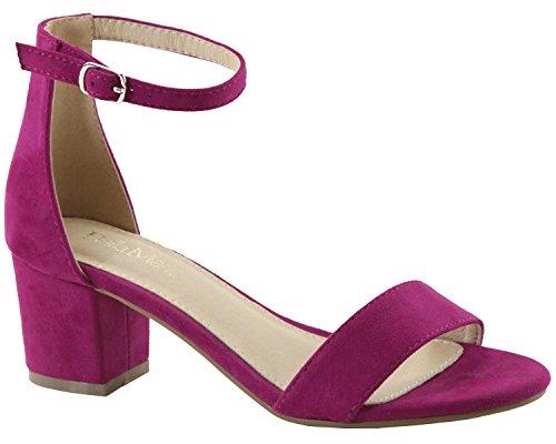 Bella Marie Womens Strappy Open Toe Block Heel Sandal Rose Imsu wXSJs8fX