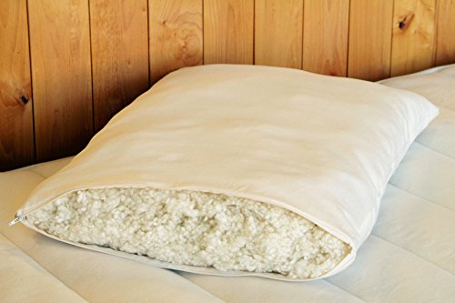 Queen Natura Organic Latex (Natural Organic Shredded Wool Fill Bed Pillows - with Organic cotton zippered cover (Queen))