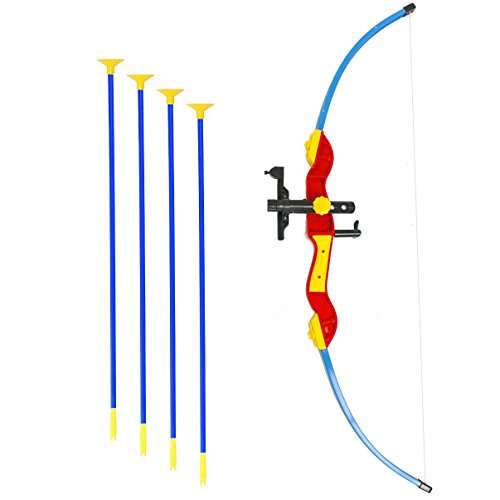 Toy Bow & Arrow for kids, Archery Bow 32'' Long, Suction Arrow 22'', Pretend Play, Soft Power Safe Children Game Set - Mulit-Color [USA Warranty 100% Guaranteed] by KiiToys