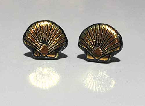 Pale Yellow Orange Scallop Shell Laser Engraved Etched Dichroic Fused Glass Stud Earrings with Solid Sterling Silver ()