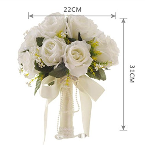 Artificial Flowers,Vibola® Crystal Roses Fake Flowers Pearl Bridesmaid Wedding Bouquet Bridal Hydrangea Decor (not include Vase)