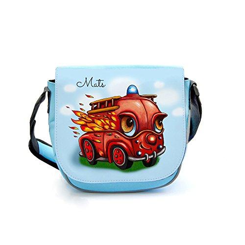 ilka parey wandtattoo-welt® Kindergartentasche Kindertasche Umhängetasche Schultertasche Tasche Feuerwehr Feuerwehrauto im Einsatz mit Wunschnamen kgt21