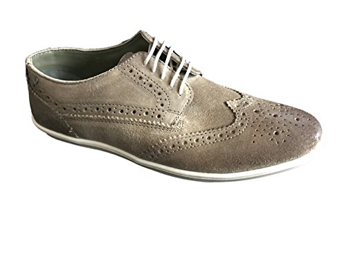 Base London Mens Perform Lace up Casual Leather Shoes Greasy Suede Taupe