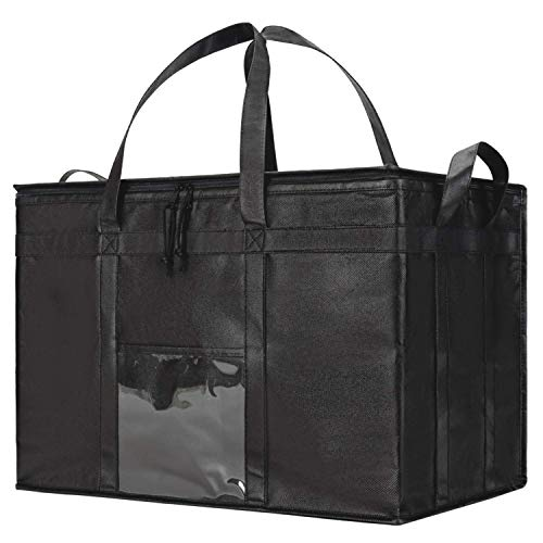 NZ Home Food Delivery Bag | Ideal for Uber Eats, Instacart, Doordash, Grubhub, Postmates, Restaurant, Catering, Grocery Transport | Dual Zipper | Black ... (XXXL Premium Black, 1)