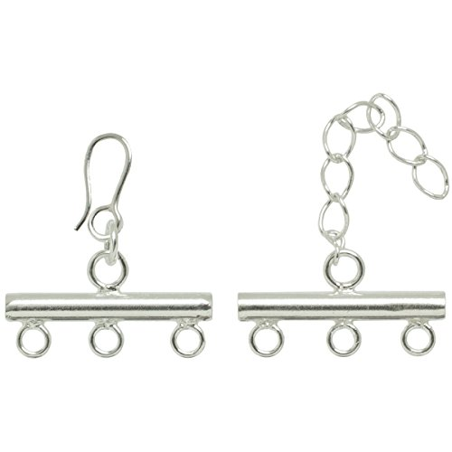 (Cousin 2950270 Plated Silver Elegance 1-Piece Silver Plate 3-Strand Rod Clasp)
