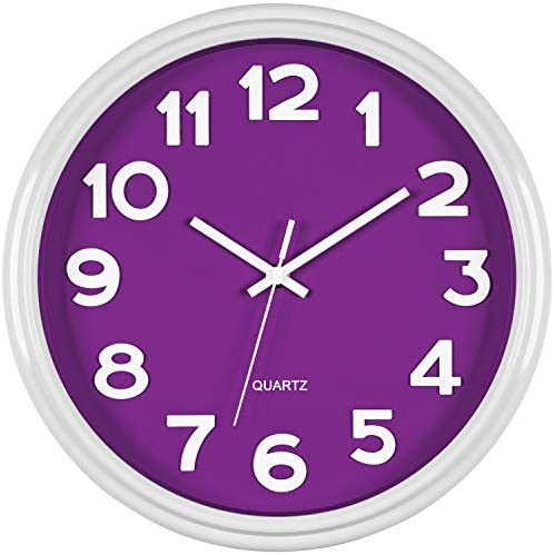Bernhard Products Purple Wall Clock 12.5 Inch Silent Non-Ticking Modern Stylish Quartz 3D Clocks