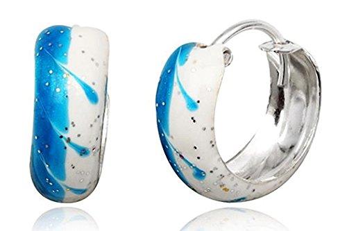 JAYARE® Boucles d'Oreilles Enfant Créoles 15 mm bleu blanc Argent 925/1000 et émail avec étui
