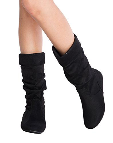 OLIVIA K Womens Low Heel Mid-Calf Slouchy Fold Over Suede Slip On Casual Boots