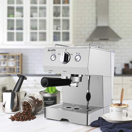 Espresso Machine 15 Bar Coffee Machine, Stainless Steel Coffee Brewer with Milk Frother Wand & Milk Frothing Pitcher, for Cappuccino and Latte,1050W